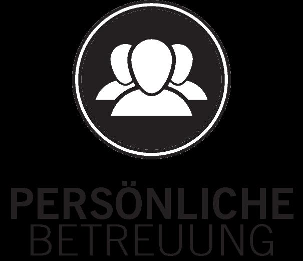 icon für persönliche betreuung, 3 abstrahierte menschenköpfe in weiss auf schwarzem kreis