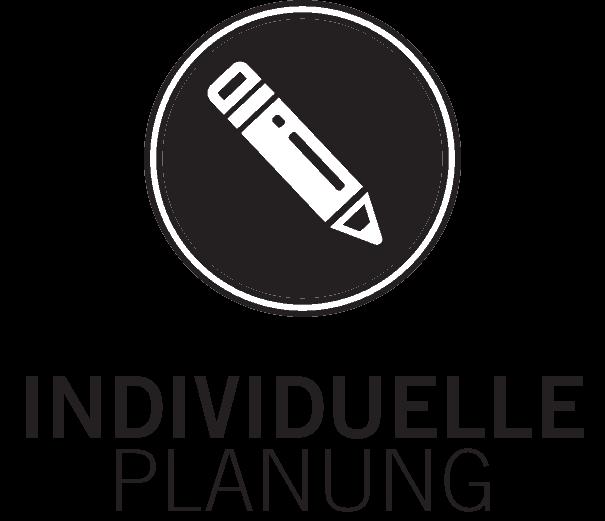 icon für individuelle planung, weisser stift auf schwarzem kreis