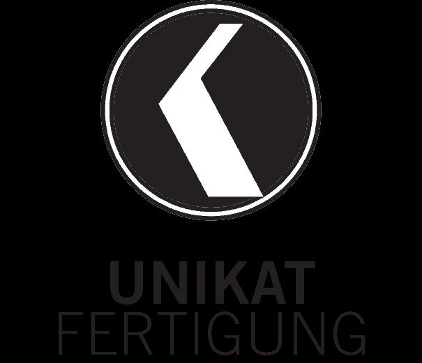 icon für unikatfertigung, das K vom logo in weiss auf schwatzem kreis