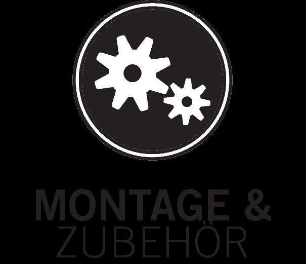 icon für montage und zubehör, zwei weisse, ineinandergreifende zahnräder auf schwarzem kreis