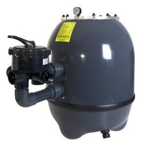 ansicht filterpumpe in grau mit ventil und druckanzeige