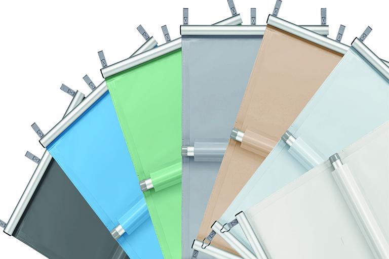 verschiedene farben dür poolabdeckung aus folie; farbfächer mit anthrazit, blau, grün, hellgrau, beige, weiss und silber
