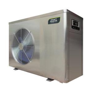 ansicht einer wärmepumpenanlage, silberfärbig, links mit rundem ansauggitter, perspektivische darstellung