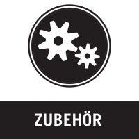 icon für zubehör, zahnräder ineinandergreifend in weiss auf schwarzem kreis